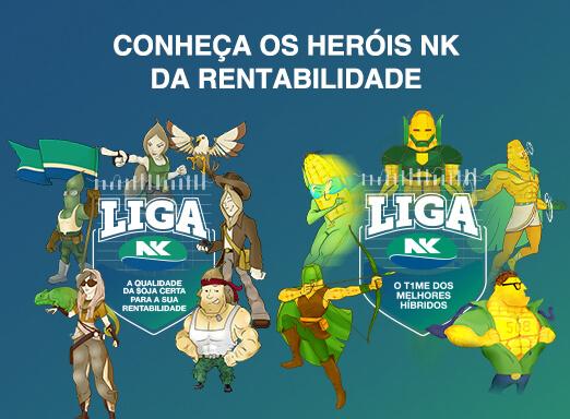Imagem da campanha Liga NK, com Heróis NK da rentabilidade