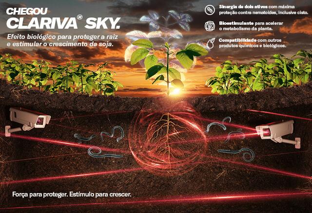 Chegou Clariva Sky. Efeito biológico para proteger a raiz e estimular o crescimento da soja.